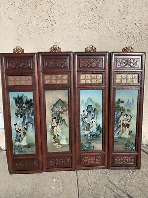 Set Of Four Chinese Reverse Glass Painted Panels