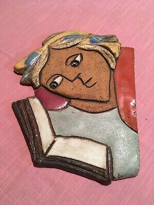 Ceramic Wall Plaque Sculpture Girl Reading Book Barcelona Spain from El Balconet