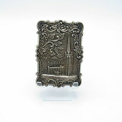 Antique Sterling Castle Top Card Case Trinity Church Wall St. C-1860-1880 NR