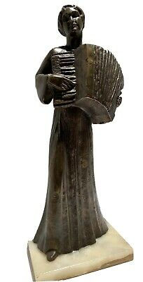 Lilian Swann Saarinen Bronze Statue Of A Woman Playing Accordion