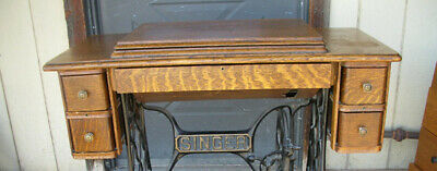 Antique Singer Treadle Sewing Machine Cabinet with Drawers