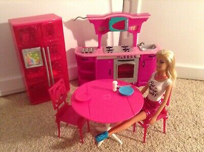 Barbie Furniture Kitchen Set Glam Sink Stove Fridge Table Chairs Doll Accessory