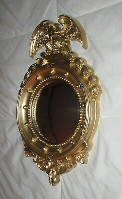 Vintage Homco #2340 Federal Eagle Convex Mirror Wall Nautical Port Gold