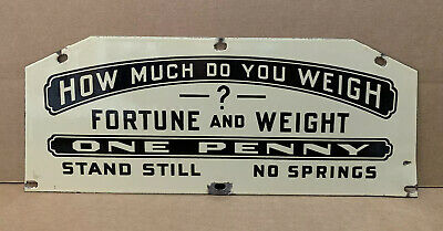 How Much Do You Weigh Porcelain Scale Sign Vintage Wall Decor Gas Oil Store