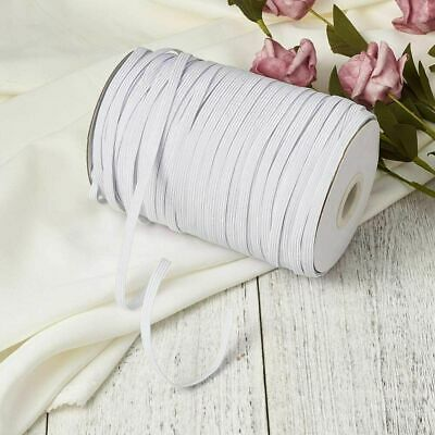 1X Roller 200 Yards 5mm white Braided Elastic Band Cord Knit Stretch DIY Sewing