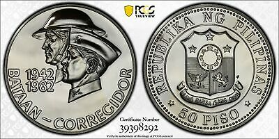 1982 Philippines 50 Piso Silver Coin WWII Bataan PCGS PL-67 POP 4/1