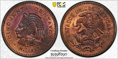 1955 Mexico 50 Centavos Bronze Coin PCGS MS-65 Top Pop in RB Colorful!