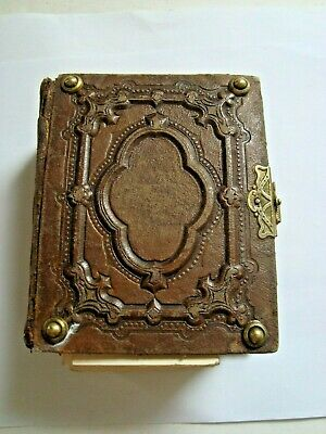 Antique Leather Photo Album-Gold Embossed Sides-19th Century American