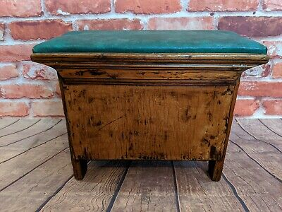 Antique vintage leather topped fireside footsool with lift up top - storage box