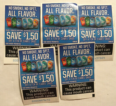Lot of 5 Camel Snus Coupons - Save $1.50 - $7.50 In Savings! (Exp: 05/2021)