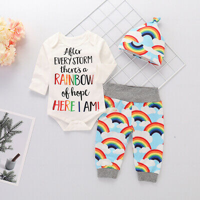 Newborn Baby Boy Girl Rainbow Cotton Clothes Romper+Pants+Hat 3PCS Outfits New