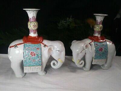 Antique Matched Opposite Pair Of Chinese Famille Rose Porcelain Elephants