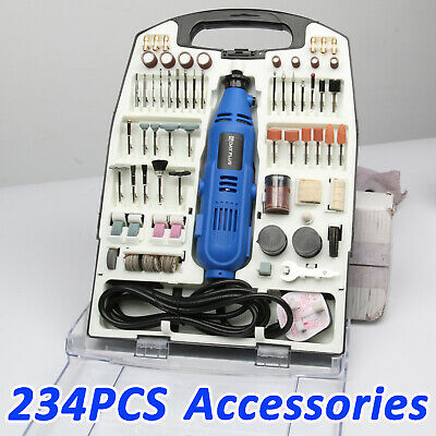 234PC Rotary Multi Tool Hobby Precision Drill + Dremel Type Accessories UK Stock