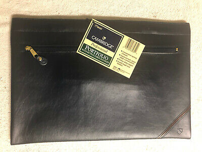 Cambridge Leather Portfolio With Retractable Handles - Dark Blue - NEW W/tags