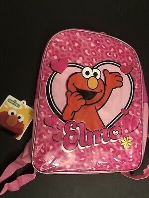 Sesame Street Elmo's Backpack Pink Leopard Girls School Kids Zipper New Tag 2015