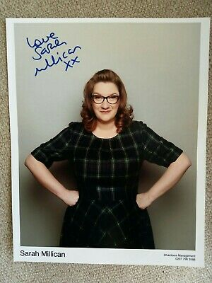 10 x 8 signed SARAH MILLICAN photo. Has crease down the middle.