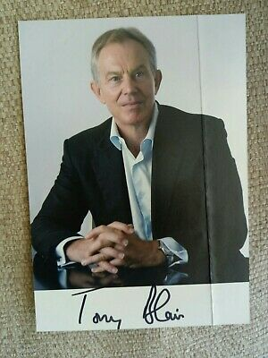 Hand Signed TONY BLAIR photo. Creased down it's side.