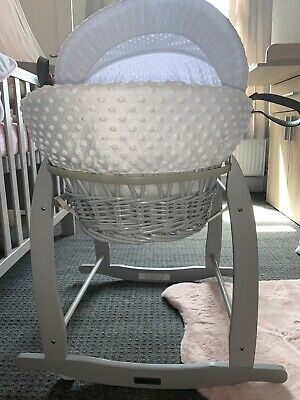 claire de lune moses basket Grey And White with Rocker Stand