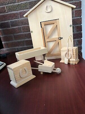 Wooden Toy Horse Barn Stable Tack Room Custom Made Model Breyer