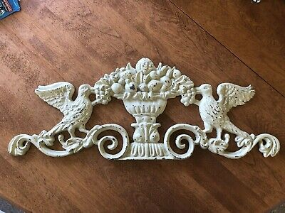 Antique Cast Iron Over The Door Plaque distressed shabby chic basket with birds