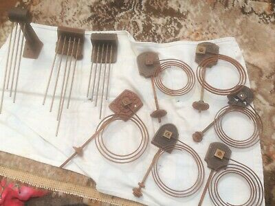 An assortment of 3 mantle clock Westminster chime rods and 6 circular gong rods