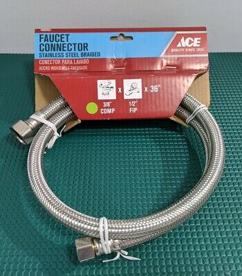Ace 3/8in x 1/2in x 36in Stainless Steel Supply Faucet Supply Line SKU 4059457