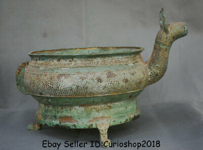 """13.2"""" Antiquity Old Chinese Bronze Ware Dynasty Dragon Beast Zun drinking vessel"""