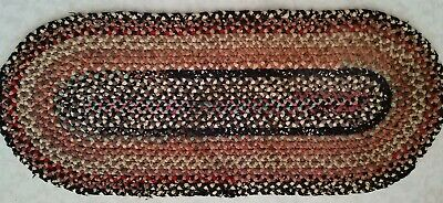 Early Rug Candle Mat Hand Sewn About 22 Inches Long Great Look !