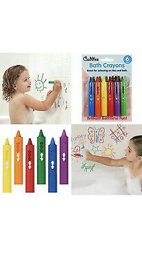 6 Coloured Bath Crayons Tiles Crayon Kids Paints Drawing Washable Fun Toy Pens