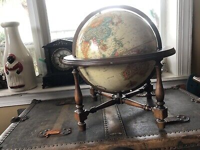 "Vintage Replogle World Classic Series 12"" Diamter Globe on Wooden 10"" Stand"