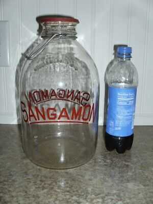 Vintage Sangamon Dairy Products Co. 1 Gallon Cream Bottle Red Lithography
