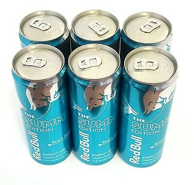6pk Red Bull Summer Edition Beach Breeze Energy  Drink.the Blue Can.