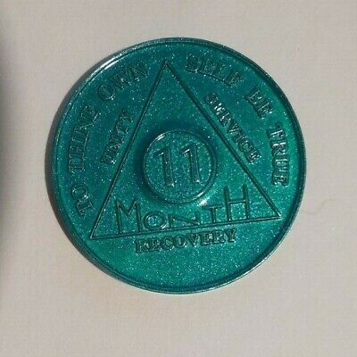 aa alcoholics anonymous 11 month recovery sobriety chip coin token medallion