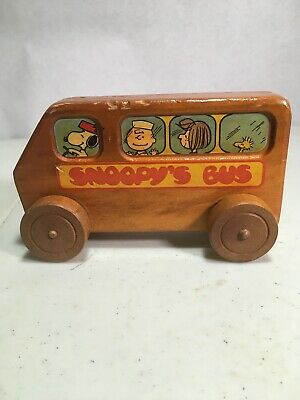 1968 Aviva Snoopy's Bus Wood Toy Peanuts Character Charlie Brown Used Vintage