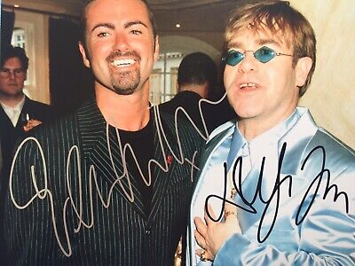 A Genuine Signed Photo By George Michael & Elton John