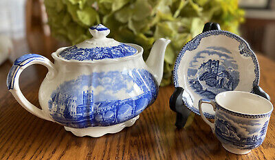 Palissy Pottery Teapot Thames River Scenes Plus Johnson Bros Demitasse