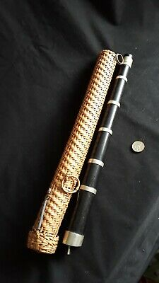 Antique, Musical Instrument, Tabour Pipe,Ebony & Silver Metal