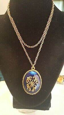 Vintage Max Factor Blue & Goldtone Oval Solid Perfume Locket  Pendant Necklace