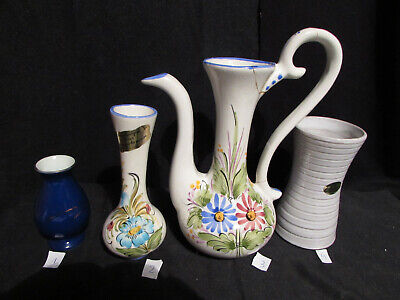 Vintage/ Piece Unique 3 Vases /1 Aiguieres /Terre Cuite /Faience/ Decor Main/Ker