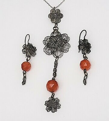 Antique Chinese Filigree Silver Flower Necklace & Earrings w Carnelian Beads