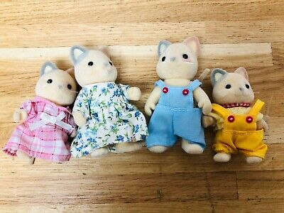 Sylvanian Families ~ Cream Cat Pink & Grey Ears In Good Condition