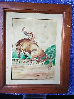 1950 Victorian CARVED wood frame Texas cowboy remember falling painting AMULET