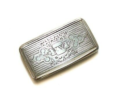 "Spanish 915 Silver Snuff Box, 19th Century. Foliate Scrolls, ""FW"""