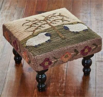Willow & Sheep Hooked Stool - FREE SHIPPING
