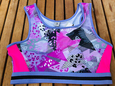 NEW TU Girls Pink Purple Active Crop Top Age 12 Racer Back Sports Dance Gym