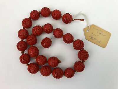 24 Vintage Chinese Red Cinnabar Carved Beads