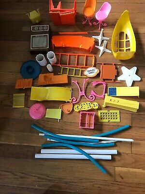 Vintage 1975 Barbie Fashion Plaza Country Camper Etc Assorted Pieces Furniture