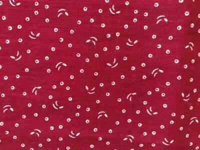 ~Back In Time Textiles~                ~Antique 1890 Claret calico Fabric~
