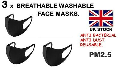 3 x  Reusable Breathable Washable Face Mask BLACK FOR EVERYDAY USE(UK STOCK)