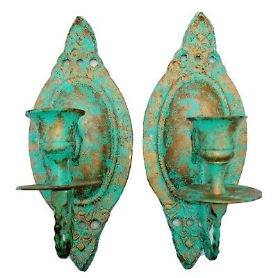 Vintage Pair Solid Brass Candle Wall Sconces Turquoise Gold Boho Home Decor 8.5""